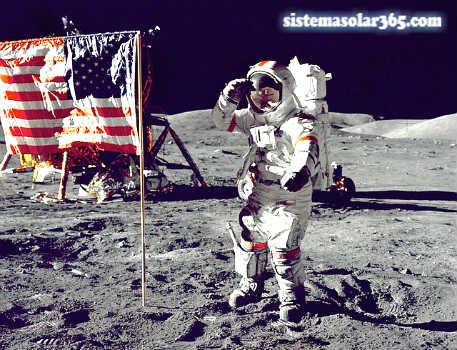 Astronauta saludando desde la Luna