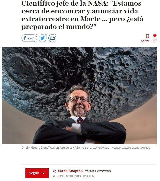El jefe de la NASA, anuncia el próximo hallazgo en Marte. Vida extraterrestre.
