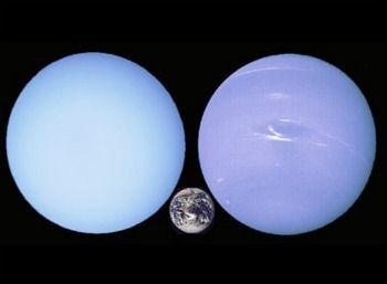 Diferencia entre los gigantes gaseosos Neptuno y Urano, con la Tierra