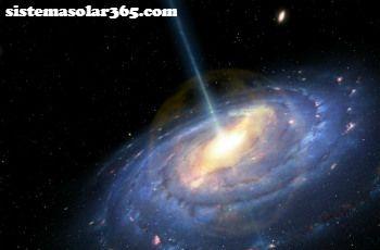 Un quasar expulsando un chorro hacía el exterior