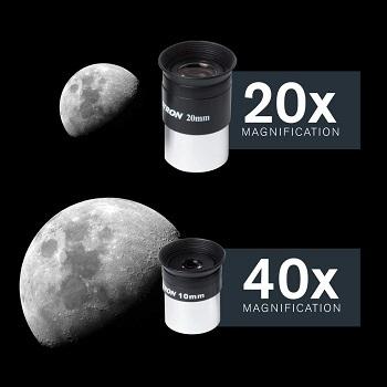 Lentes oculares, de 20 y 40 aumentos telescopio celestron