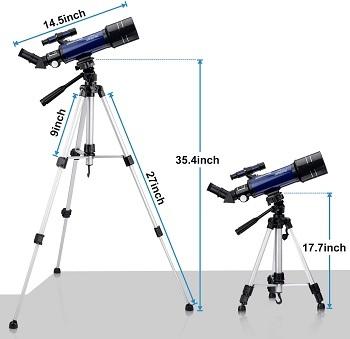 Altura del trípode del telescopio astronómico Bebang